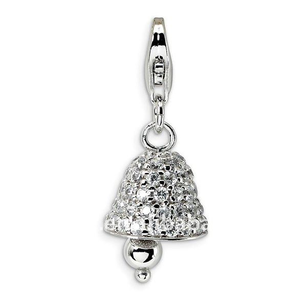 silver tone bell charms/pendants for DIY jewelry with lobster clasp
