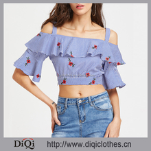 Latest Designs Wholesale Price Stylish ladies Casual Blue Open Shoulder Pinstripe Layered Frill Trim Embroidered top blouse