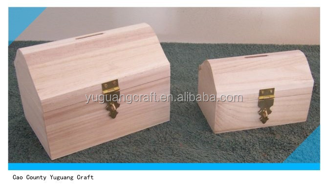 Unfinished SMALL Wood Craft TREASURE CHEST BANK Box