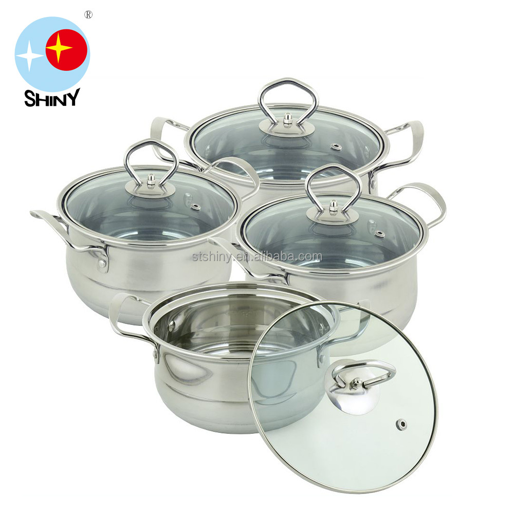 Stainless Steel Soup Pot/ Stainless Steel Casserole with glass cover and steel handle