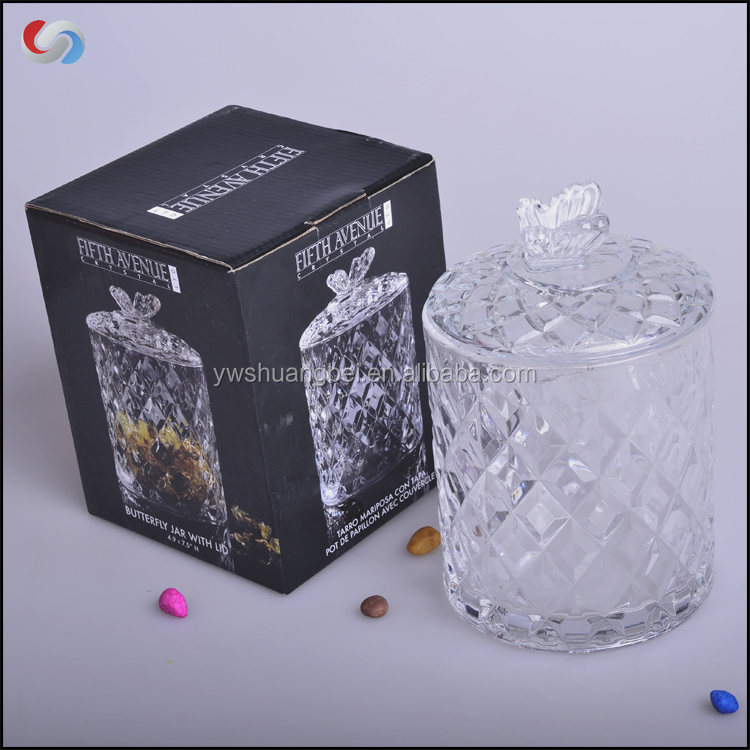 diamond High Quality Clear Glass Candy Jar With Lid canning jars