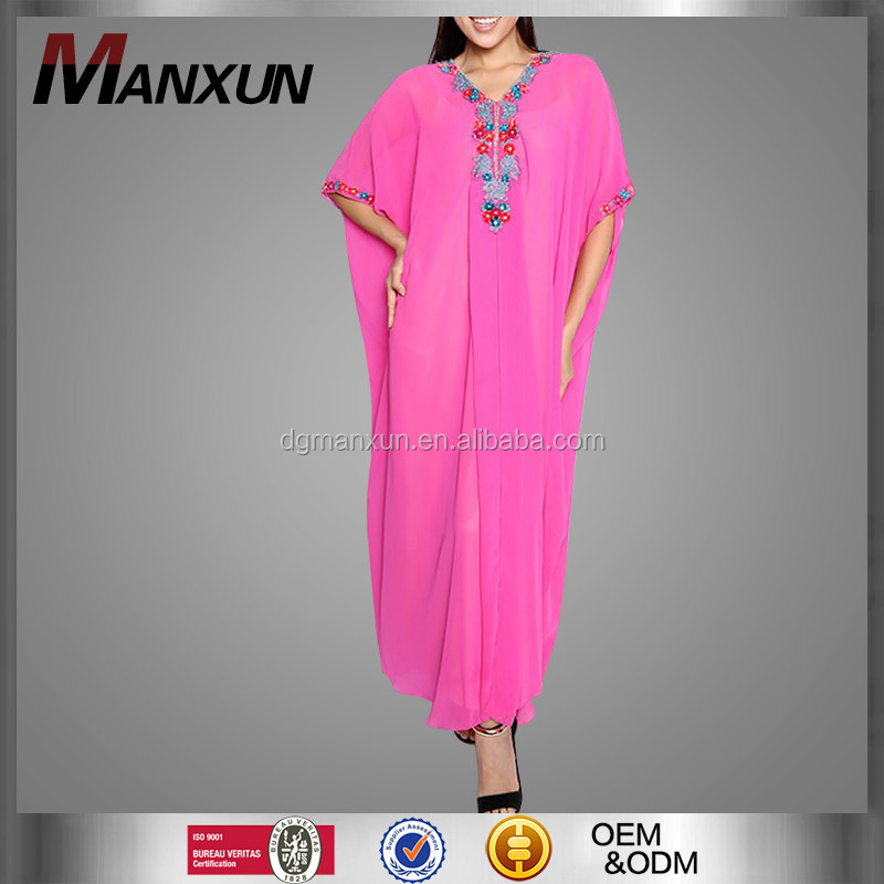 Wholesale Chiffon Hand-made embroided kaftan Dress Women Moroccan Kaftans for Sale