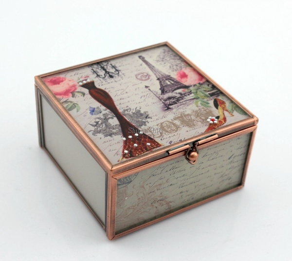 Wedding Gifts Grace Lady Glass Trinket Box for Jewelries wedding favour boxes