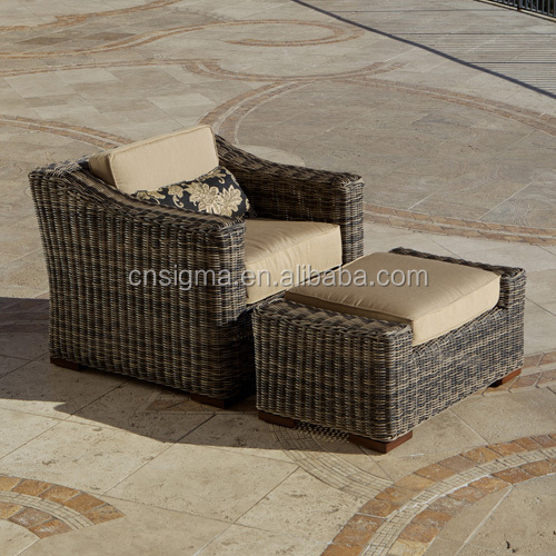 Sigma outdoor round rattan furniture chair lounger and ottoman