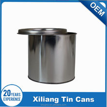 2 Liter round paint tin can with lids and handle