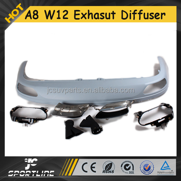 A8 W12 PP Auto Exhaust Tips with Rear Bumper Diffuser for Audi A8 W12