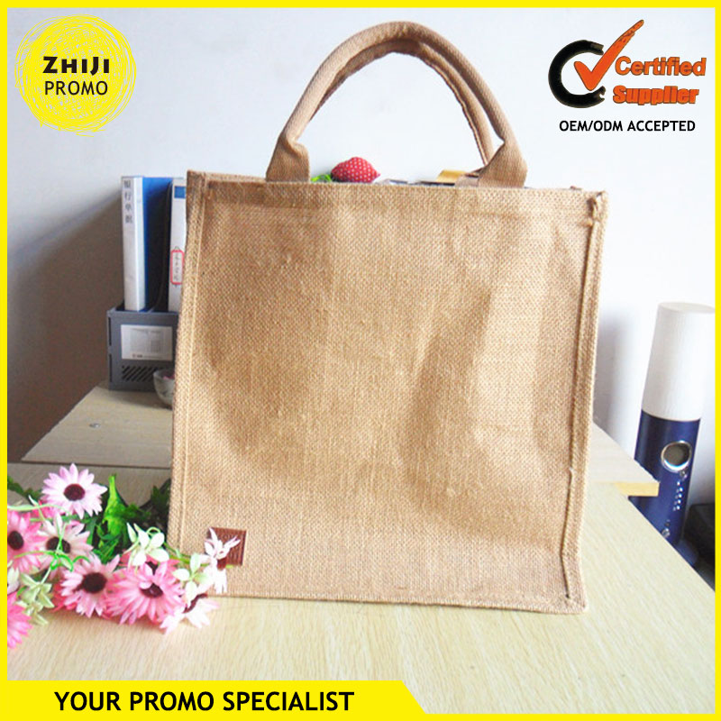 2016 New Custom Handmade Eco Friendly Natural Promotional Handbag Gifts Simple Style Linen Shopping Bag