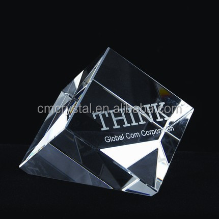 blank glass paperweight /clear crystal paperweight