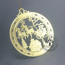 2017 Unique hot sale product handmade artificial gold metal Christmas ornament made in China