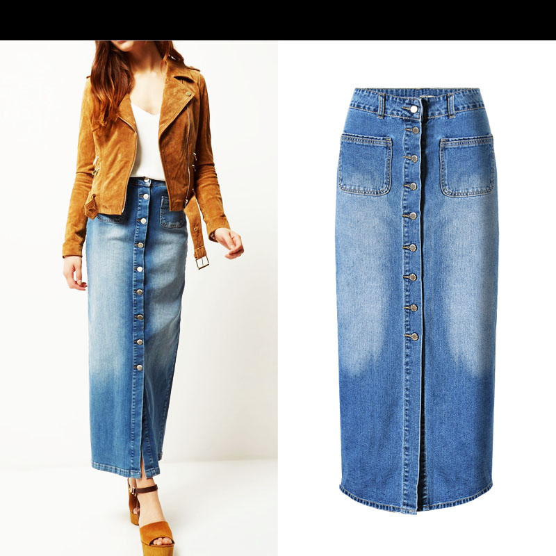 B9109 Fashion Denim Skirts Womens 2018 Summer Jeans High Waist Women Skirt