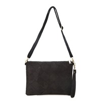 Simplicity Style Casual Rhombic Texture Black Lady Cross-body Bags