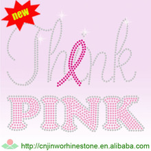 Tackle Cancer Pink Ribbon Heat Press Glitter Rhinestone Transfer Iron On Decals pink (4)