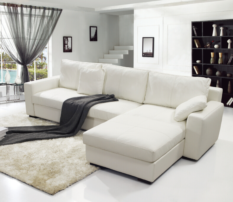 Modern Noble White Color Dubai Leather Sofa Furniture L-Shaped Sofa Corner Sofa Set Designs