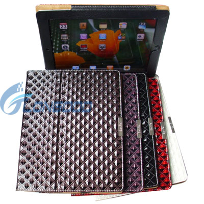 Fashion Diamond Flip Leather Stand Hard Case For Apple iPad 2
