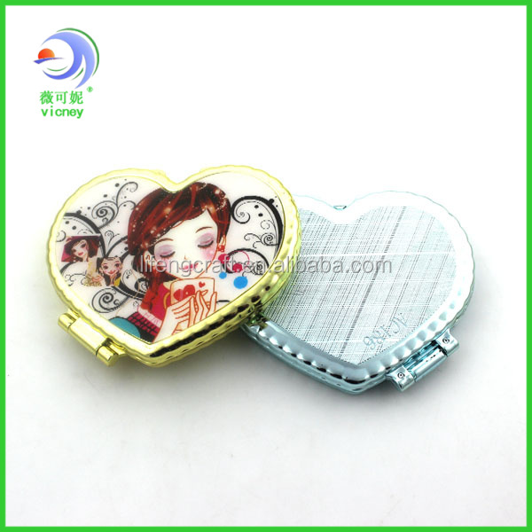 Fashionable Heart Shape Handheld Mirror /Personalized Cosmetic Pocket Mirror