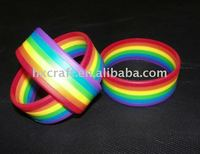 2014 New style attractive design rainbow silicone wristband 6 layer rubber bands