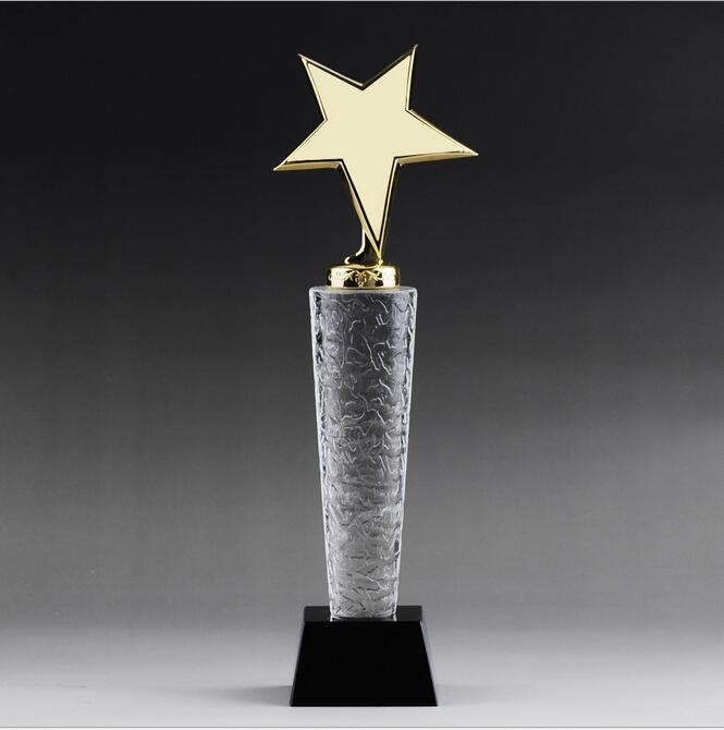 k9 top quality golden star crystal trophy