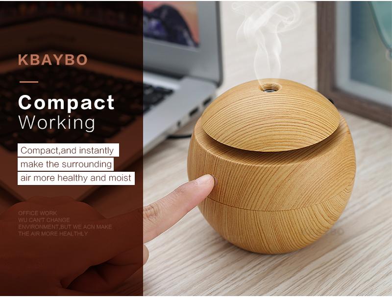 Diffuseur d'huiles essentielles USB KBAYBO bois, aromathérapie, design compact