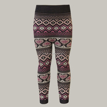 Kids Seamless Autumn Winter Knit Casual Multi Color Aztec Jacquard Leggings