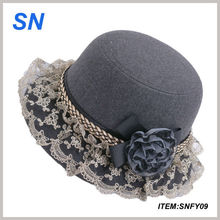 women's fashion lace trimmed flower fedora hat