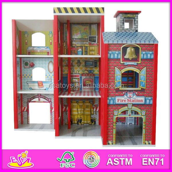 2015 fashion new wooden dollhouse model toy,wholesale DIY wooden dollhouse toy,3D colorful baby wooden dollhouse set W06A049