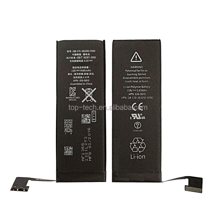 High quality li-ion polymer rechargable internal mobile phone battery for IPhone 5 battery with high capacity of 1440mAh
