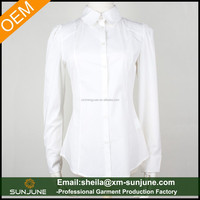 New style pure cotton long sleeve ladies white formal shirts