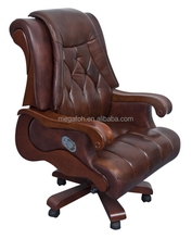 Luxury brown genunine leather executive swivel gas lift cylinder inclinable office chair with wheels, wooden armrest (FOH-1239)