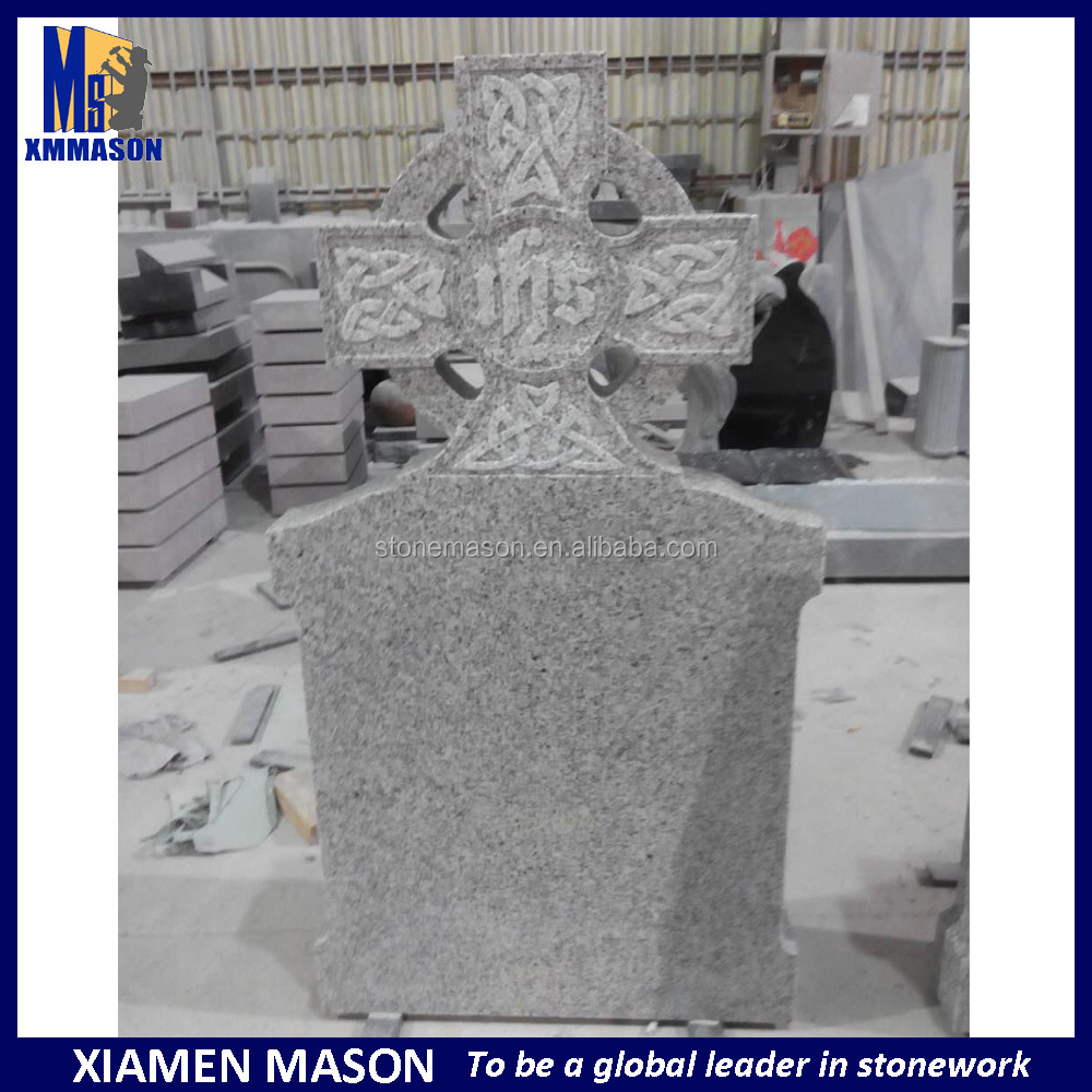 Western design celtic carved cross headstone for european style