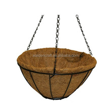 Garden metal hanging flower stand basket with coco liner