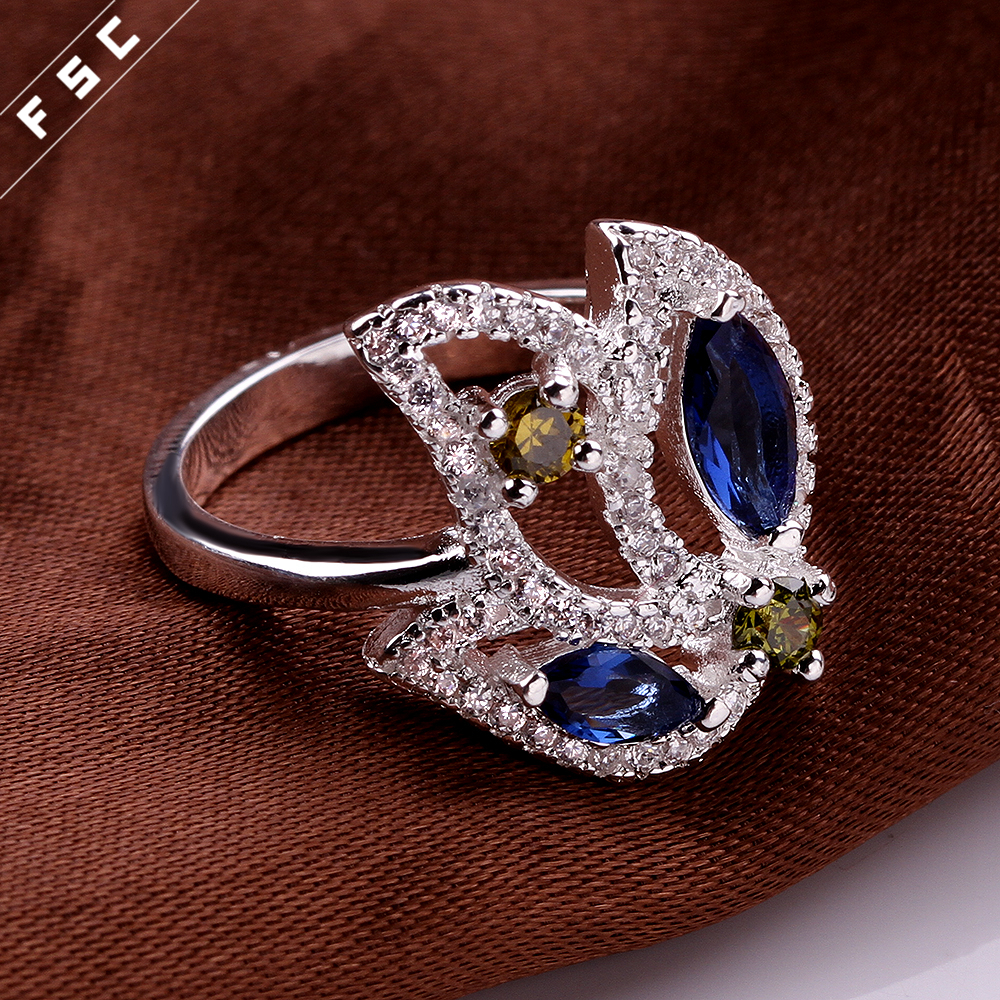wholesale stainless steel leaf shaped silver plated colored cz custom ring for girls