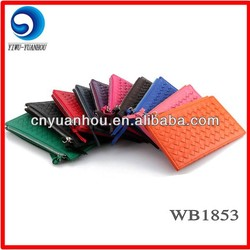 fashional colorful woven pu card holder pouch business card holder