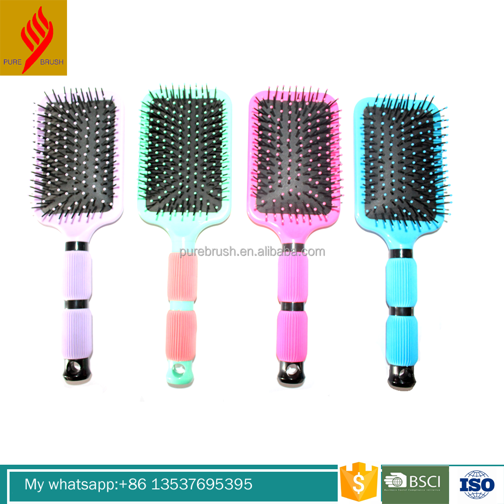 Injection moulding machine good hair paddle brush with solid color