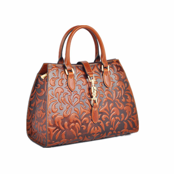 Best Selling Latest Design Ladies Genuine Leather Handbag Brown Genuine Laether Handbag