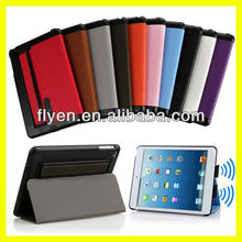 Unique stand leather case for ipad mini with arm band and loud speaker 10 colors Deluxe Style