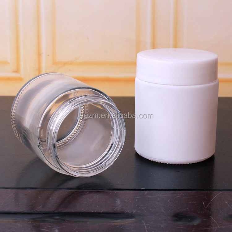 110ml 3oz glass jar with plastic lid round glass food container