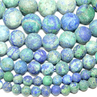 loose gemstone beads Dyed Chrysocolla color Lapis Lazuli frosted Plain Rounds