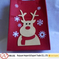 2015 new design Christmas bag!!!A4 size red reindeer design felt christmas gift bag for selling book