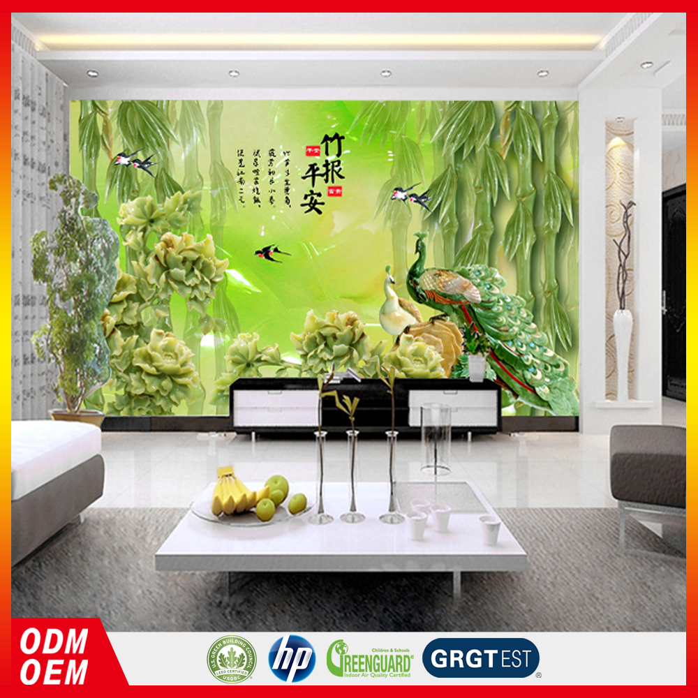 Jade carved bamboo photo peacock large wall fresco 3d wallpaper for restaurant
