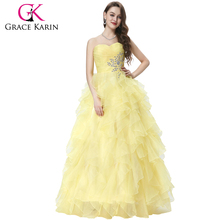 Grace Karin Strapless Off Shoulder Organza Long Ball Gown Western Quinceanera Dress For Daughter CL3411-2