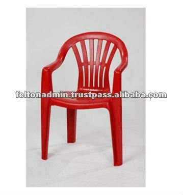 FCA 1444 Red Plastic High Back Chair with Arm Rest