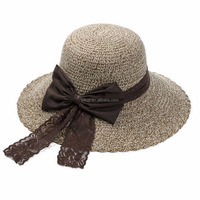 Cheap Summer Fashion Women Lady Panama Straw Hats with Bowknot for Beach Travel Gifts