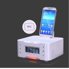 NFC LCD Alarm Clock Docking Station Wireless BT Audio Speaker with MIC Support FM radio for Samsung iPhone5/6/6s/7