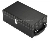 Luxury High End PU Leather Wine Gift Box with Metal Lock