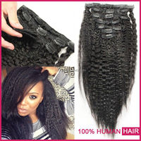 Full head 200 grams clip in hair extensions for african american, wet and wavy clip in hair extensions for black