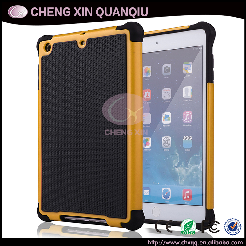 2015 hot selling football pattern 3 in 1 TPU+Silicon+PC mobile back cover case for ipad mini 2