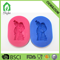 BPA Free food grade custom silicone wedding couple fondant mold