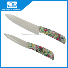 Ceramic chef line knife set with colored handle