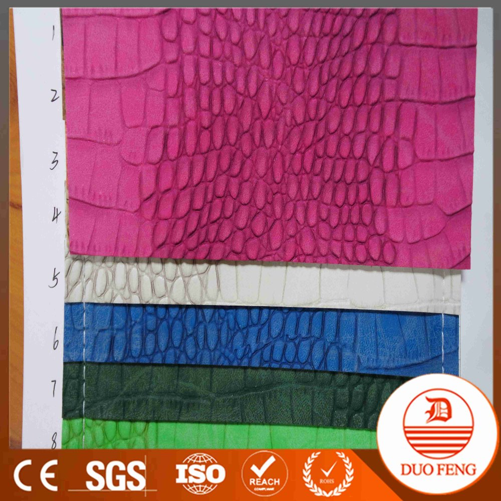 Synthetic Crocodile Skin Patterned Stretched pvc leather 2016