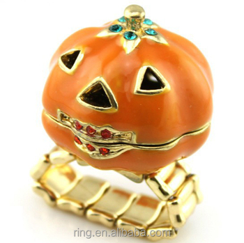 Halloween pumpkin alloy finger ring christmas kids fashion jewelry